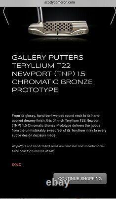 Scotty Cameron Teryllium T22 Newport 1.5 Chromatic Bronze Prototype Circle T